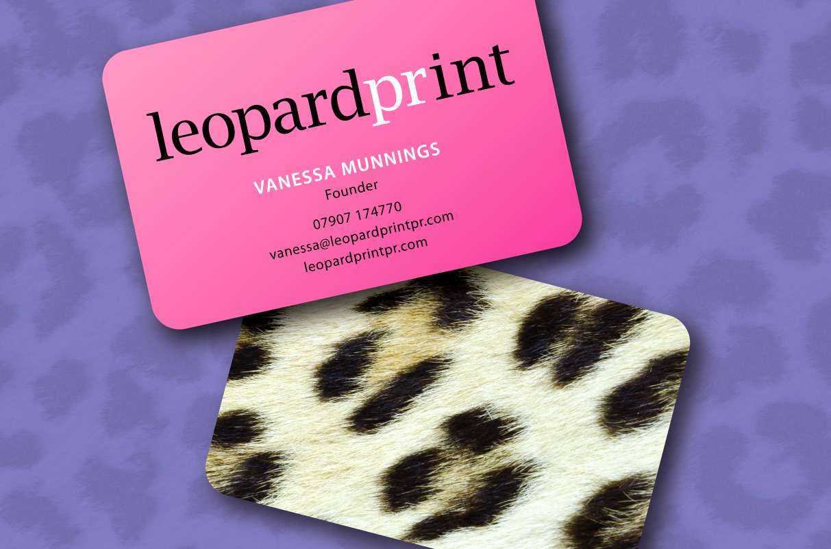 Business cards for Leopard Print PR Kessell Design